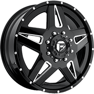 Fuel Full Blown D254 Dually Front Black Milled Wheels