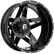 Fuel Wheels <br /> Full Blown D254 Dually Rear Black Milled