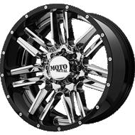 Moto Metal MO202 Chrome Center w/ Gloss Black Milled Lip Wheels