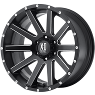KMC XD818 Heist Satin Black w/ Milled Spokes Wheels