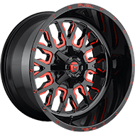 Fuel D612 Stroke Gloss Black w/ Candy Red Wheels