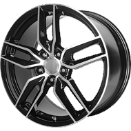 OE CREATIONS WHEELS<br> PR160 GLOSS BLACK W/ MACHINED SPOKES