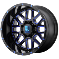 KMC XD820 Grenade Satin Black Milled w/ Blue Clear Coat Wheels