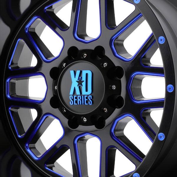 Xd Wheels Grenade Satin Black Milled W Blue Clear Coat