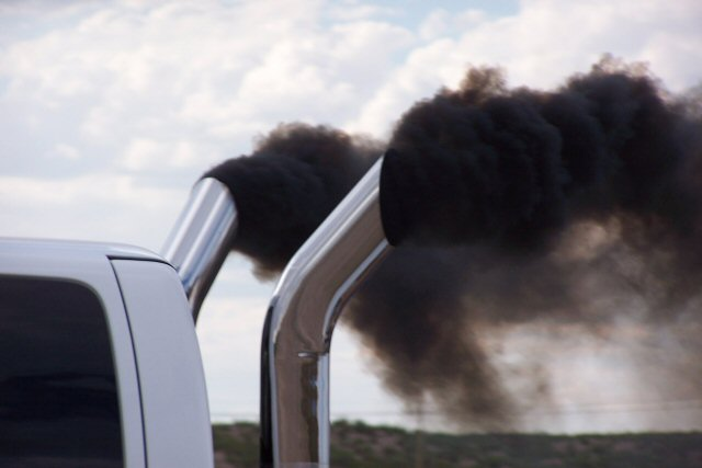 Black smoke coming from a diesel truck