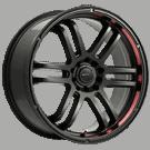 Drifz 207B FX <br />Black with Red Lip <br /> 5 Lug