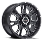 V-TEC Wheels Fury 399 Gloss Black Milled Spots
