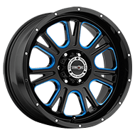 Vision Wheels 399 Fury </br>Gloss Black Ball Cut Machined Blue Tint