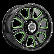 Vision Wheels 399 Fury </br>Gloss Black Ball Cut Machined Green Tint