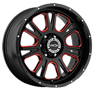 Vision Wheels 399 Fury </br>Gloss Black Ball Cut Machined Red Tint