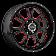 Vision Wheels 399 Fury </br>Gloss Black Ball Cut Machined Red Tint