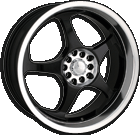Akita Racing Wheels AK-90 490 Black Machined Lip