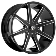 DUB Wheels Push S109<br /> Gloss Black and Milled