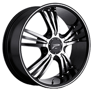 Platinum Wheels<br /> 122 Wolverine Gloss Black with<br /> Diamond Cut &amp;amp; Clear Coat