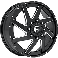 Fuel Renegade D265 Dually Front Black and Milled Wheels