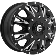 Fuel Throttle D513 Dually Front Matte Black Milled Wheels