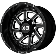 KMC XD833 Recoil Semi-gloss Black Milled W/ Reversible Ring Wheels