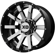 KMC XD200 Heist Chrome Center w/ Gloss Black Milled Lip Wheels