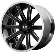 KMC XD200 Heist Gloss Black Milled Center w/ Chrome Lip Wheels