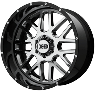 KMC XD201 Grenade Chrome Center w/ Gloss Black Milled Lip Wheels