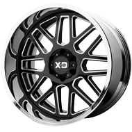 KMC XD201 Grenade Gloss Black Milled Center w/ Chrome Lip Wheels