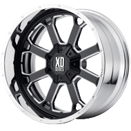 KMC XD202 Buck 25 Chrome Center w/ Gloss Black Milled Lip Wheels
