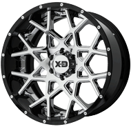 KMC XD203 Chopstix Chrome Center w/ Gloss Black Milled Lip Wheels