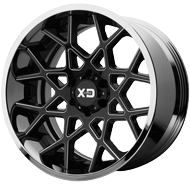 KMC XD203 Chopstix Gloss Black Milled Center w/ Chrome Lip Wheels