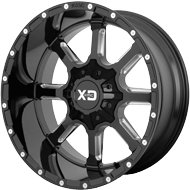 KMC XD838 Mammoth Gloss Black Milled Wheels