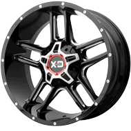 KMC XD839 Clamp Gloss Black Milled Wheels