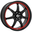 Konig Wheels <br>Forward Black Red Stripe
