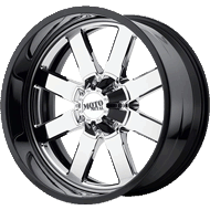 Moto Metal MO200 Chrome Center w/ Gloss Black Milled Lip Wheels