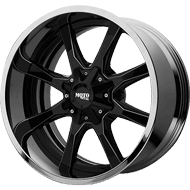 Moto Metal MO201 Gloss Black Milled Center w/ Chrome Lip Wheels