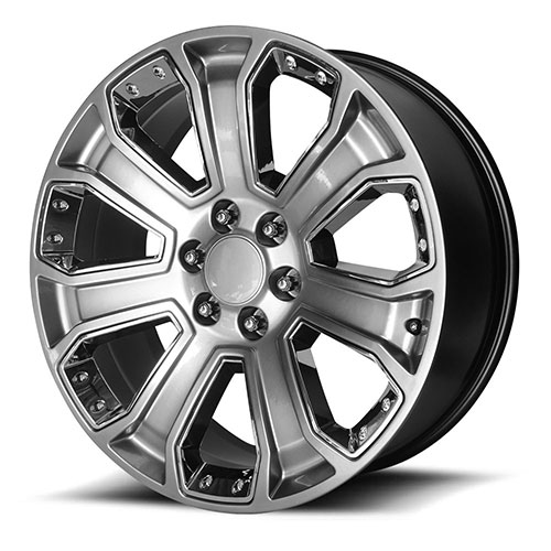 OE CREATIONS WHEELS<br> PR162 SILVER W/ CHROME ACCENTS