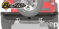 Bestop HighRock 4x4 Rear Bumper <br>Black Metal <br>1997-2006 Wrangler TJ
