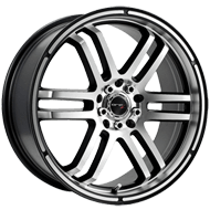 Drifz 207MB FX Black Machined 4 Lug Wheels