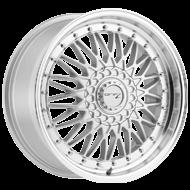 Drifz 310MS Retro Mirror Machined Lip Titanium Silver Center Wheels
