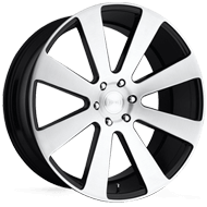 DUB Wheels 8-Ball S214 <br/> Brushed with Gloss Black