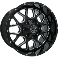 DWG Offroad <br/>DW14 Gunner Gloss Black Milled Wheels