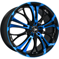 HD Wheels <br/>Spinout Gloss Black with Machined Face & Transparent Blue Finish