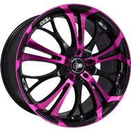 HD Wheels <br/>Spinout Gloss Black with Machined Face & Transparent Pink Finish