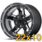 KMC Rockstar RS3 Matte Black Machined With Black Accents<br /> 22x10