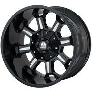 Mayhem Wheels <br/> Combat 8105 Gloss Black with Milled Spokes