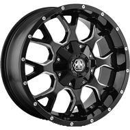 Mayhem Wheels <br/> Warrior 8015 Black/Milled Spokes