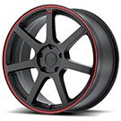 Motegi Racing Wheels<br /> MR132 Matte Black with Red Stripe