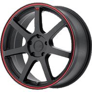 Motegi Racing MR132 Matte Black with Red Stripe Wheels
