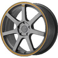 Motegi Racing MR132 Matte Gray with Orange Stripe Wheels