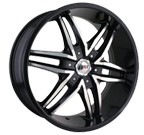 MPW Wheels <br/>MP208 Black Machined