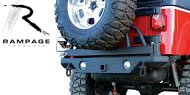 Rampage Rear Recovery Bumper with Hitch, Tire Mount and Light Cut Outs for 1987-2006 Wrangler TJ, TJL and YJ
