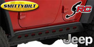 Smittybilt SRC Rocker Guards with Plate<br/> for 07-17 Jeep JK Unlimited